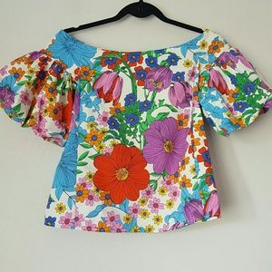 H&M puff sleeve off the shoulder floral top